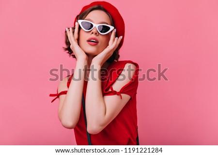 Retro nő portré elegáns barna hajú hölgy hullámos Stock fotó © Victoria_Andreas
