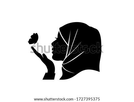 Belo muçulmano mulher preto hijab isolado Foto stock © NikoDzhi