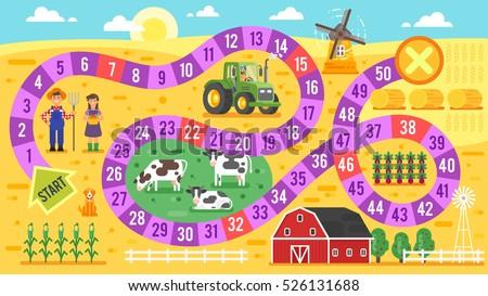Vektor stílus illusztráció gyerekek farm társasjáték Stock fotó © curiosity