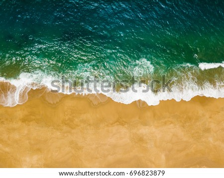 Stock photo: Top view of a deserted beach. The Portuguese coast of the Atlant