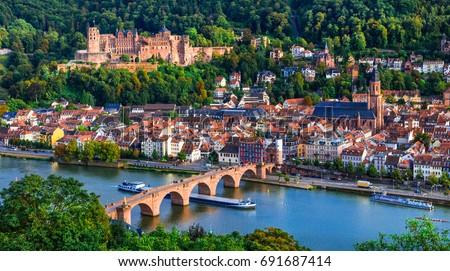 Landmarks of Germany - medieval Heidelberg town in  Baden-Wurtte Stock photo © Freesurf