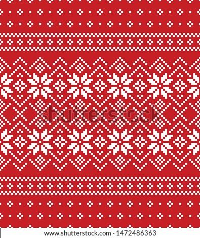 Stock photo: Scandinavian folk art Christmas vector pattern, Nordic red seamless design with reindeer and snowfla