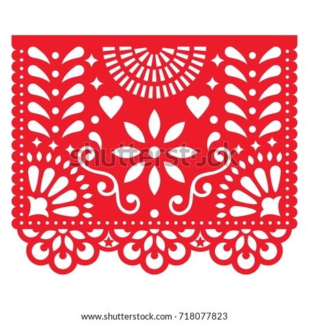 mexican paper decorations   papel picado vector design traditional fiesta banner inspired by garlan stock photo © redkoala
