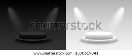 3d Empty Podium Vector. Round Empty White Podium On Clean light Interior Scene Mock Up. Vector illus Stock photo © pikepicture