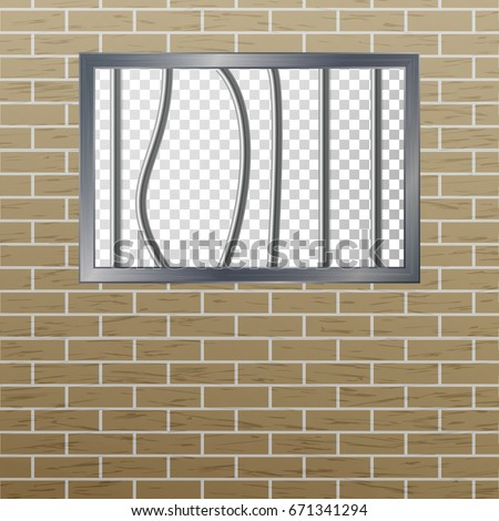 Window In Pokey With Bars. Brick Wall. Vector Jail Break Concept. Prison Grid Isolated. Stock photo © pikepicture