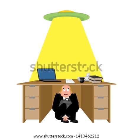 бизнесмен · страшно · таблице · чужеродные · испуганный · деловой · человек - Сток-фото © popaukropa