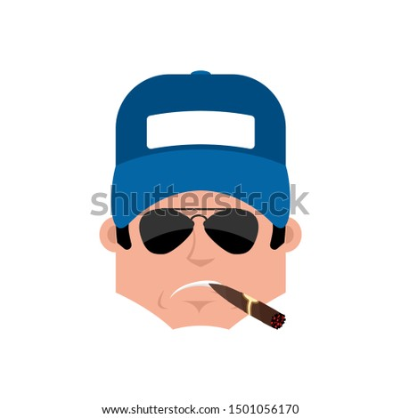 Plumber Serious emotion avatar. fitter with a cigar emoji face.  Stock photo © popaukropa