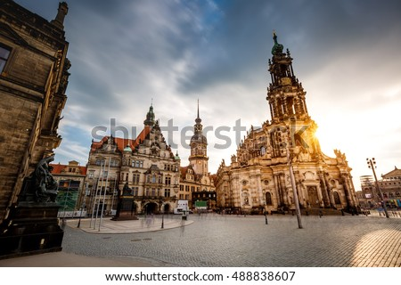 dramatic view of cathedral catholic hofkirche and palace georgen stock photo © leonidtit