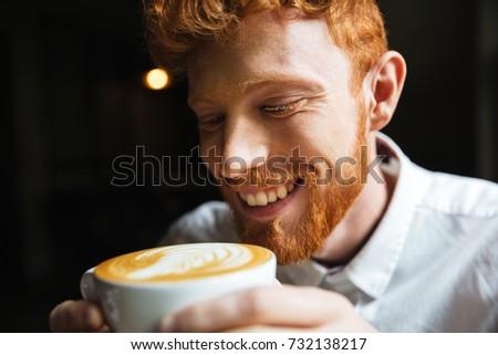 Portre yakışıklı gülen sakallı adam Stok fotoğraf © deandrobot