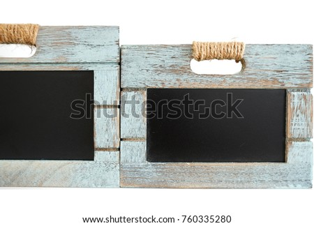 two rustic wooden blue crate with chalkboard blackboard as copyspace for your custom text stock photo © jaylopez