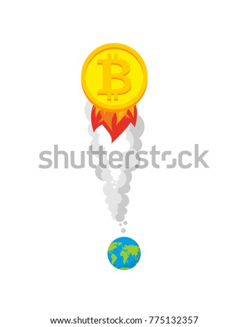 Bitcoin rocket. Growth of  price of crypto currency. Witcher ill Stock photo © popaukropa