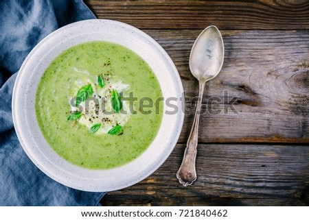 Vegetable soup with brussel sprouts on wooden rustic table, top view Stock photo © yelenayemchuk