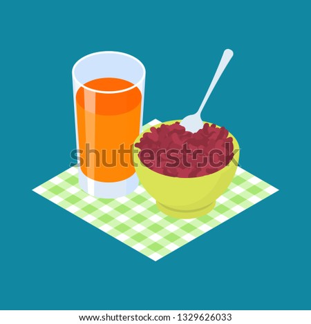 Rojo frijol jugo de fruta desayuno alimentos saludables alimentos Foto stock © MaryValery