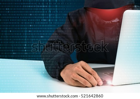 hacker reading personal information concept of privacy and security stock photo © alphaspirit