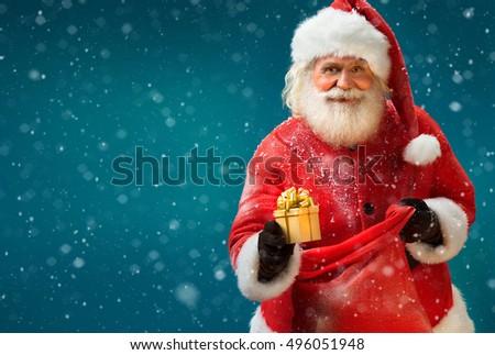 Foto stock: Vermelho · saco · papai · noel · presentes · férias · ao · ar · livre