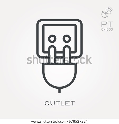 Icons of cord and cable with plugs of thin lines, vector illustration. Stock photo © kup1984