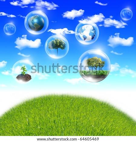 groene · energie · wolken · gras · wereldbol · globale · hand - stockfoto © rufous