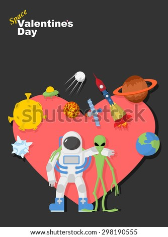 Astronaut and alien friends. Valentines day in space. Heart symb Stock photo © popaukropa
