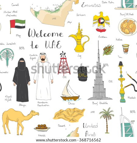 Barrel oil UAE  map background. Flag United Arab Emirates. Camel Stock photo © popaukropa