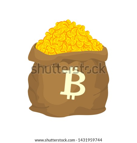 Bag of bitcoin. sack of Cryptocurrency . lot of virtual money Ve Stock photo © popaukropa