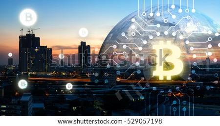 Bitcoin monde terre affaires icône financière Photo stock © popaukropa