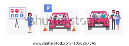 Man In Driving School Vector. Training Car. Successful Pass Exam. Learning To Drive. Driving License Stock photo © pikepicture