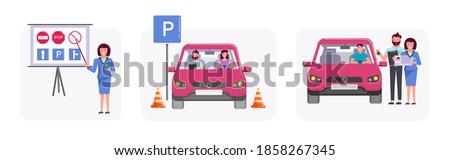 vector · rijden · school · geïsoleerd · witte · weg - stockfoto © pikepicture