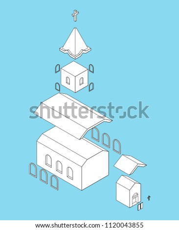 Church Structure parts Isometrics Catholic Christian house relig Stock photo © popaukropa