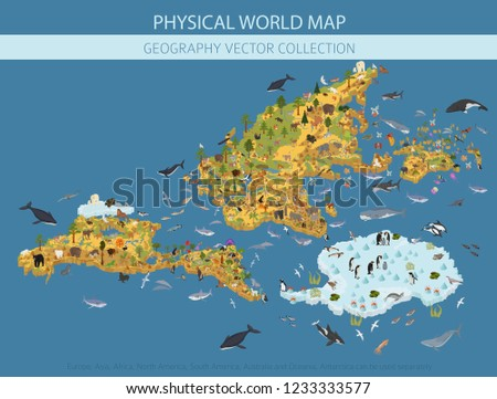 Eurasia Isometric Map Animal and plants. flora and fauna on main Stock photo © popaukropa