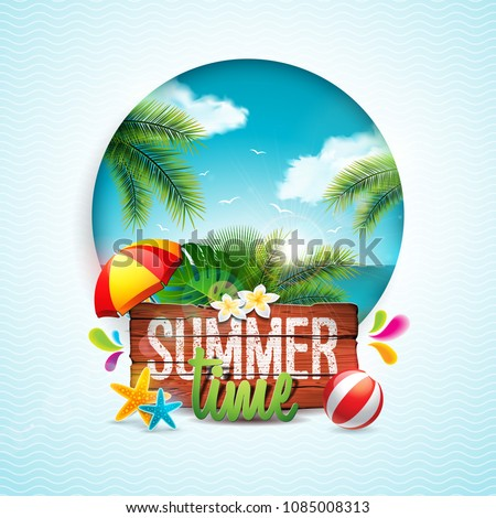 Vector Hello Summer Holiday typographic illustration on vintage wood background. Tropical plants, fl Stock photo © articular