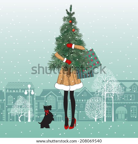 New year or Christmas greeting card with dog, bag and regards for you Stock photo © heliburcka