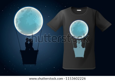 Moon hot air ballon with two kissing people, t-shirt design, modern print use for sweatshirts, souve Stock photo © ikopylov