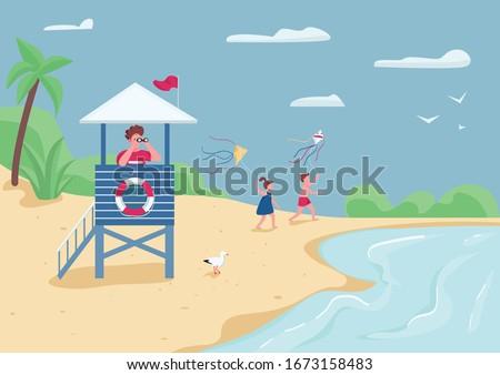Jogar pipa praia verão atividade cenário Foto stock © svvell