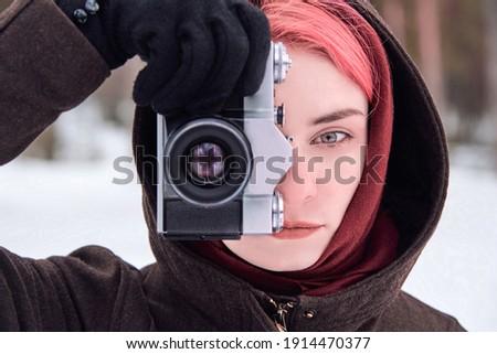 женщину розовый волос фотограф фильма Сток-фото © dmitriisimakov