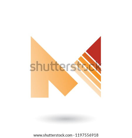 orange letter m with a diagonally striped triangle vector illust stock photo © cidepix