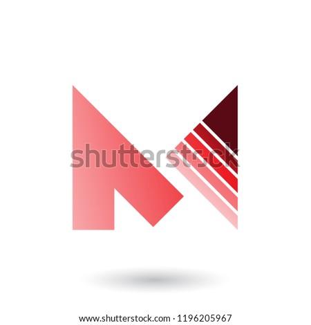 Czerwony list m pasiasty trójkąt wektora odizolowany Zdjęcia stock © cidepix