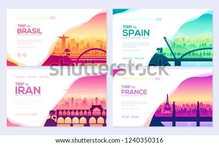 Bruggen verschillend landen sjabloon outdoor silhouet Stockfoto © Linetale