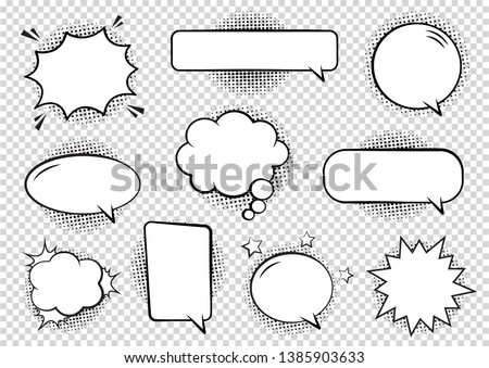 Comics Template. Vector Retro Comic Book Speech Bubbles Illustration. Mock-up of Comic Book Page wit Stock photo © Designer_things