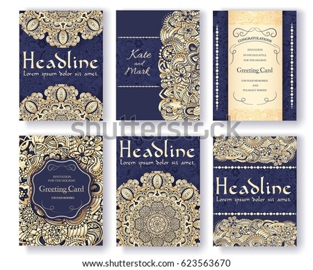 Set of traditional flyer pages ornament set illustration concept. Vintage art traditional, Islam, ar stock photo © Linetale