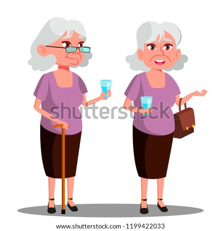 Modern Old Woman With A Glass In Her Hand Vector. Isolated Illustration Stock photo © pikepicture