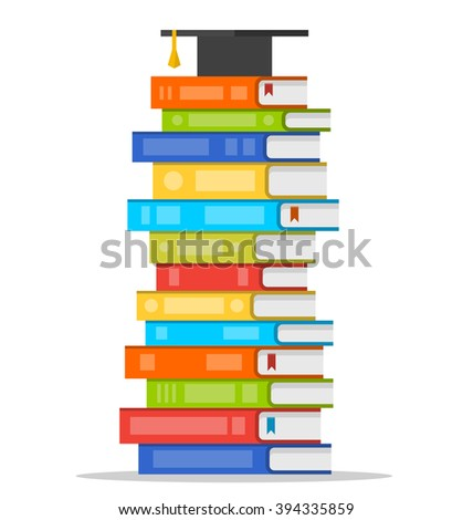 graduation cap on top of a stack of books vector isolated illustration stock photo © pikepicture