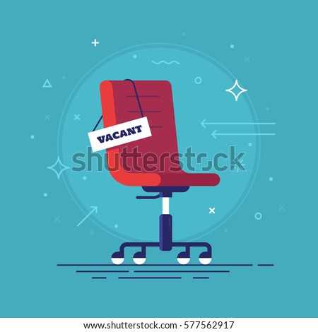 Empty Office chair with vacant sign. Employment, vacancy and hiring job. Vector Stock photo © Andrei_