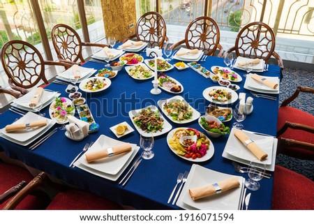 ingericht · catering · banket · tabel · verschillend · voedsel - stockfoto © boggy
