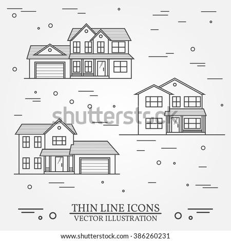коттедж домах набор тонкий линия дизайна Сток-фото © Decorwithme