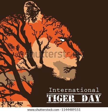 Internationale tijger dag embleem badge Stockfoto © JeksonGraphics