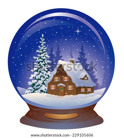 Snow-covered globe isolated on a white background. Vector illustration. Stock photo © Lady-Luck