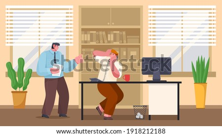 Stock photo: Shouting Head Of Chief From The Computer On Frightened Employee Vector. Isolated Illustration