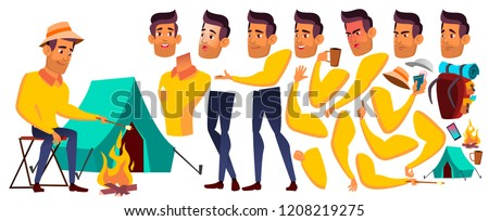 teen boy vector arab muslim animation creation set hiking travel face emotions gestures funn stock photo © pikepicture