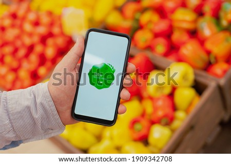 Tomato background and label on it. Environmentally friendly product good for health. Vector illustra Stock photo © m_pavlov