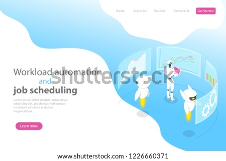 isometric flat vector landing page template for workload automation stock photo © tarikvision